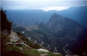 Inca road system near Macchu Picchu, Peru.
