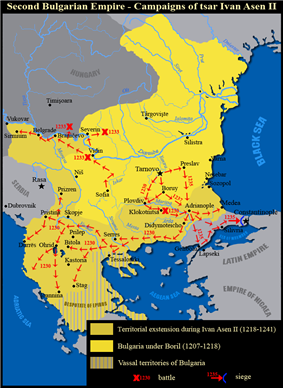 A map of the Bulgarian Empire in the mid 13th century
