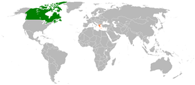 Map indicating locations of Canada and Greece