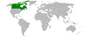 Map indicating locations of Canada and Japan