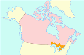Map of Upper Canada (orange) within British North America (pink)