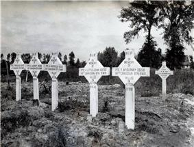Six graves marked with white crosses located in a muddy field with trees in the background.