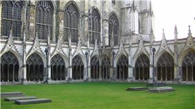 exterior shot of medieval cathedral