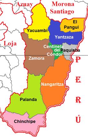 Cantons of Zamora Chinchipe Province