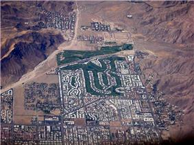 Aerial view of south west Palm Springs (facing south), with the Canyon Country Club in the center