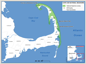 Map showing the location of Cape Cod National Seashore