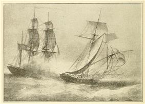 Pencil drawing of a battle between two ships