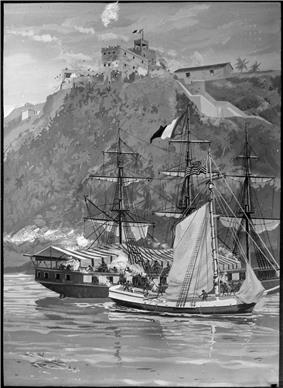 Two ships close together in a harbor with a stone fort high on a mountaintop overlooking them