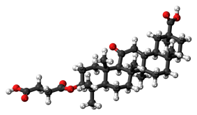 Ball-and-stick model of the carbenoxolone molecule