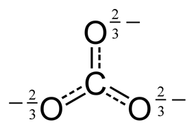 Delocalisation and partial charges on the carbonate ion