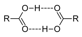 This image illustrates how two carboxylic acids, C O O H, can associate through mutual hydrogen bonds. The hydroxyl portion O H of each molecule forms a hydrogen bond to the carbonyl portion C O of the other.