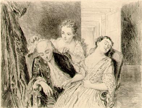 Interior scene of an older man and younger woman sitting next to each other asleep, as an older woman covers the man's head.
