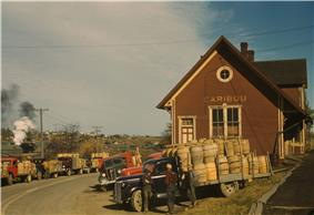 Trucks outside a starch factory in October, 1940