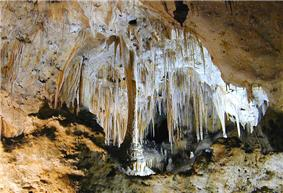 Column and array of stalactites in a cave.