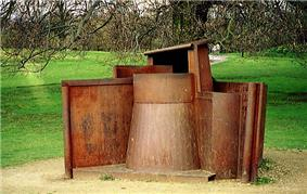 Abstract sculpture made of rusting steel