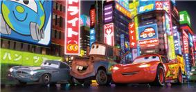 Finn McMissile (left), Mater (center), and Lightning McQueen (right) driving through Tokyo for the first time.