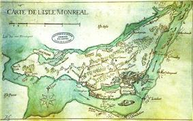 1700s map of Montreal Island.
