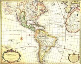 Antique map of the Americas, also showi; background-color:#A0522D;