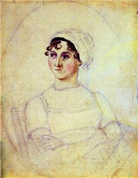 Jane Austen, drawn by her sister Cassandra (c. 1810)