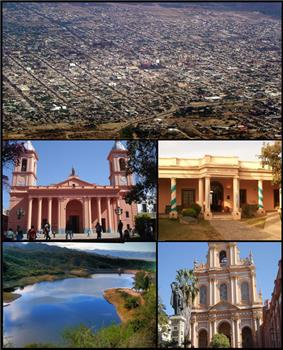 (From top to bottom; from left to right) Aerial view of the city; Our Lady of the Valley of Catamarca Cathedral; San Fernando del Valle de Catamarca Historical Museum; El Jumeal reservoir and the San Francisco Church.