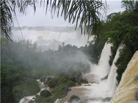 A large waterfall in a densely vegetated area.