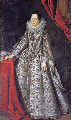 A black-haired lady in her twenties wears a white, gold emroidered gown crowned with a ruff. A string of pearls dangles from her neck.