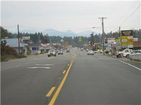 Driving into town from the north