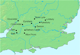 A map showing places in central southern England, including Gloucester, Cirencester, Bath, and Aylesbury