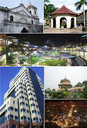 (From top, left to right) : Basilica Minore del Santo Niño, Magellan's Cross, Ayala Center Cebu, Globe Innove IT Plaza, Cebu Taoist Temple, Cebu City at night