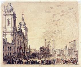 A large crowd of people and mounted horsemen fill a large public square before the steps of a twin-spired baroque church