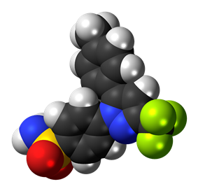 Space-filling model of the celecoxib molecule