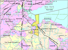 Census Bureau map of Aberdeen Township, New Jersey