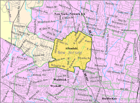 Census Bureau map of Allendale, New Jersey