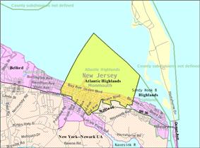 Census Bureau map of Atlantic Highlands, New Jersey