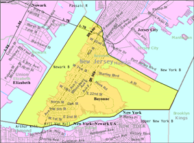 Census Bureau map of Bayonne, New Jersey.