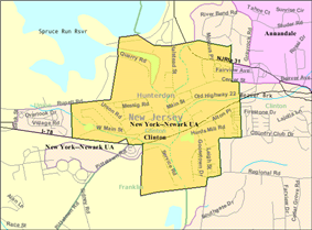 Census Bureau map of Clinton, New Jersey