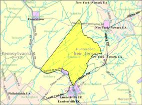 Census Bureau map of Delaware Township, Hunterdon County, New Jersey