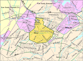 Census Bureau map of Dover, New Jersey