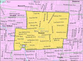 Census Bureau map of Dumont, New Jersey