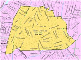 Census Bureau map of Glen Rock, New Jersey