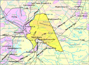 Census Bureau map of Hamilton Township, Mercer County, New Jersey