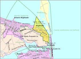 Census Bureau map of Highlands, New Jersey