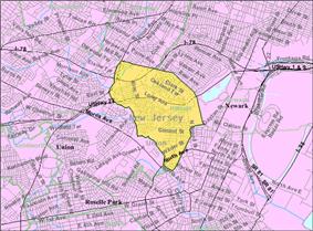 Census Bureau map of Hillside, New Jersey