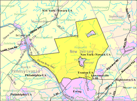 Census Bureau map of Hopewell Township, Mercer County, New Jersey