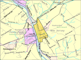 Census Bureau map of Lambertville, New Jersey