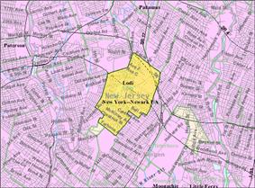 Census Bureau map of Lodi, New Jersey