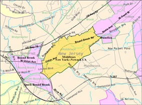 Census Bureau map of Middlesex, New Jersey.