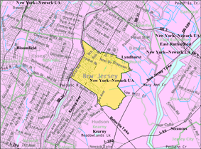 Census Bureau map of North Arlington, New Jersey