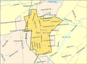 Census Bureau map of Pennington, New Jersey