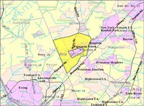 Census Bureau map of the former Princeton Township (and enclaved Borough in pink), New Jersey